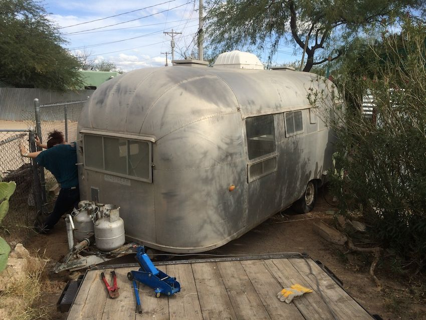 Rescuing a vintage 1957 Airstream trailer from a garden in downtown Tucson #BecauseWeCan #NotYourAverageDayAtWork