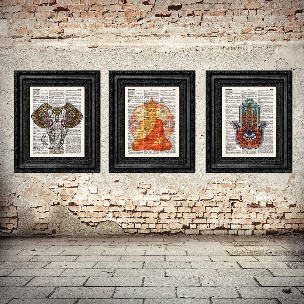 Buddhist Wall Art buddha wall art, yoga set, hamsa hand, ethnic elephant, hand of