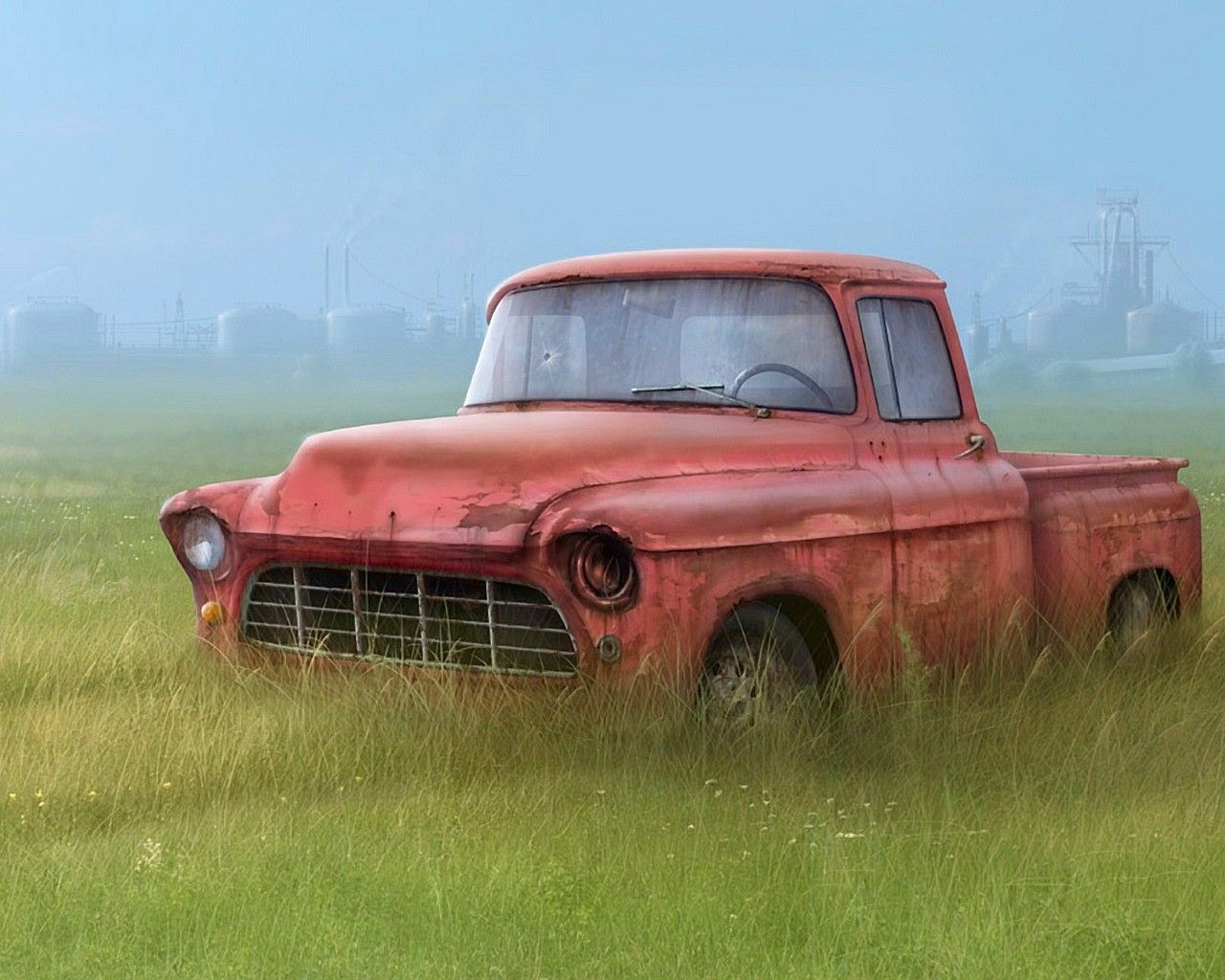 Download Wallpaper Truck Grass Drawing Broken Other Resolution 1280x1024 Truck Art Old Cars Old Pickup