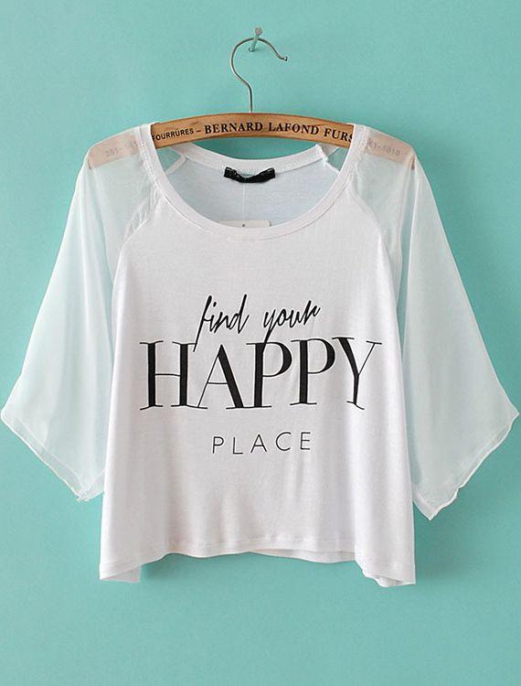 kurzes T-Shirt mit transparenten Gaze und HAPPY-Druck, weiß EUR€12.77