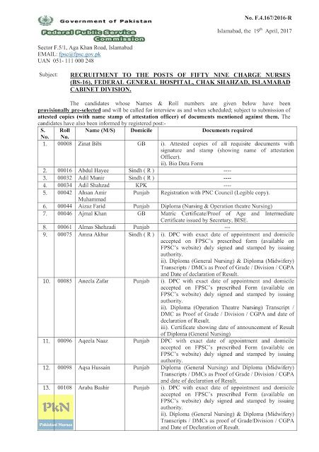 Fpsc Recruitment To The Posts Of Fifty Nine Charge Nurses Bs