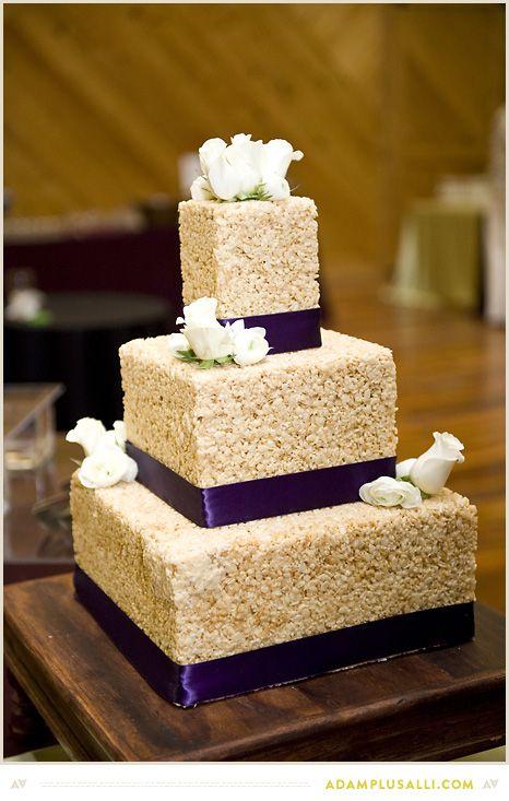 diy wedding cake the bride made her own cake out of rice krispies alternative wedding cake. Black Bedroom Furniture Sets. Home Design Ideas