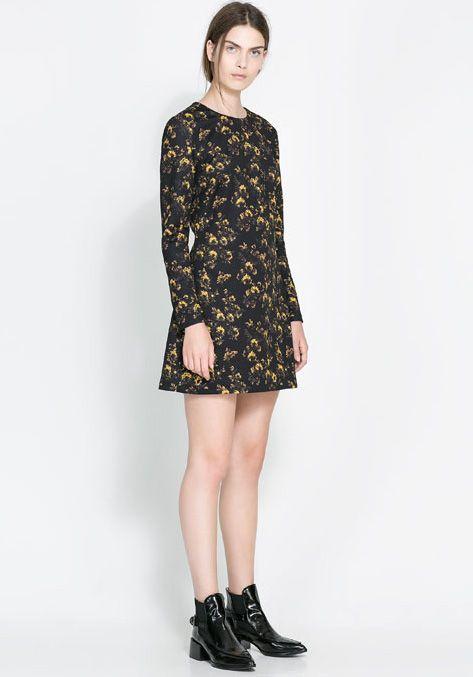 5e3e35c36910 Black Long Sleeve Yellow Floral Straight Dress - Sheinside.com ...