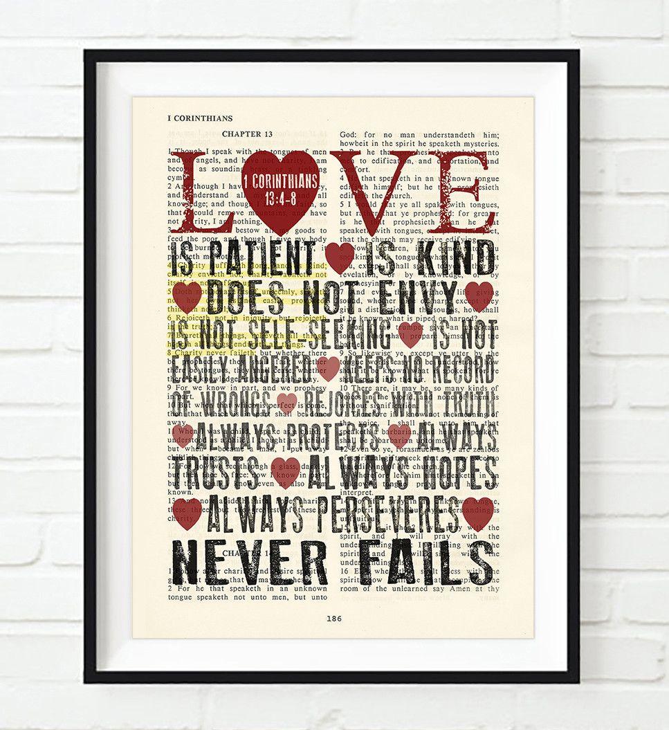 Corinthians Love Quotes Love Is Patient Love Is Kind  1 Corinthians 1348 Bible Page Art