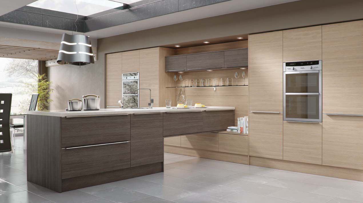 Best Modern Kitchen In A Fashionable Woograin Effect Combining 400 x 300
