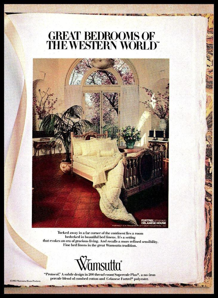 1980s wamsutta home products room interior bedlinen vintage photo print ad wamsutta home. Black Bedroom Furniture Sets. Home Design Ideas