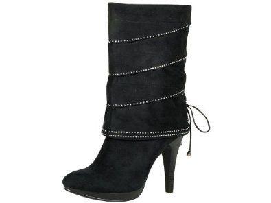 Reneeze RENEE-1 Women's High-Heels Mid-Calf Boot - Black