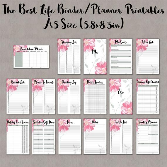 Home Management Binder Printables Collection A5 Size