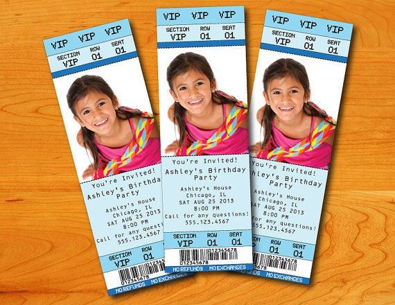Custom Invitations that look like tickets! Graphic design - invitations that look like concert tickets
