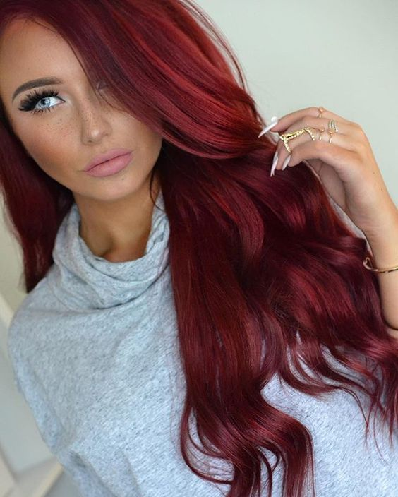 7 Habits Of Women With Perfect Hair Dark Red Hair Color Red Hair Color Crimson Hair