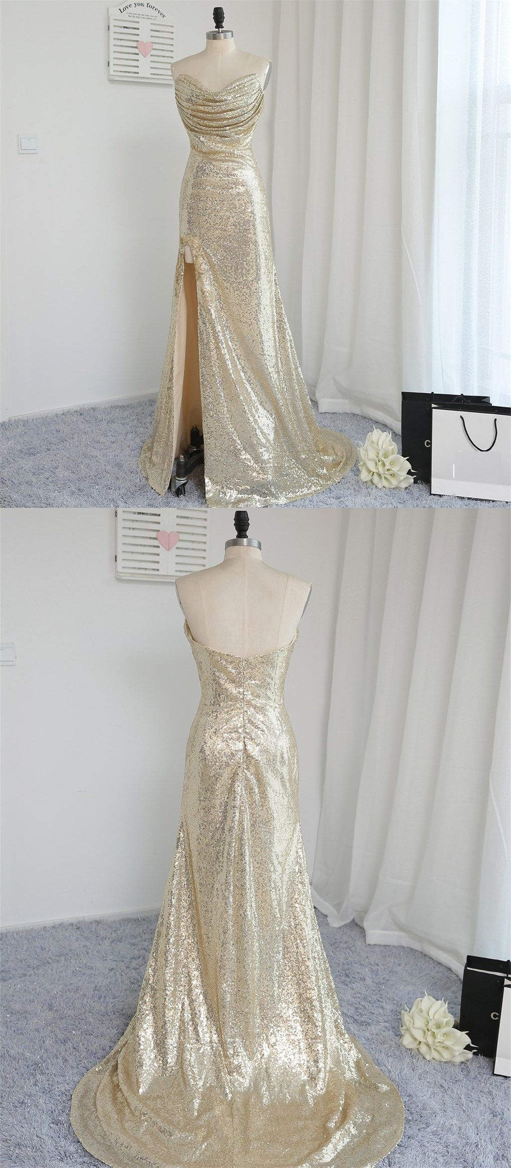 Fitted light gold sexy high split prom dresses mermaid