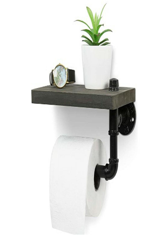 Amazing toilet paper holder with barnwood gray wood shelf