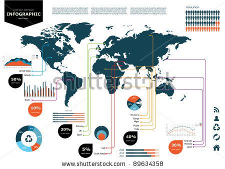 Pin by dina sporer on design world maps pinterest infographics stock vector illustration set elements of infographics world map and information graphics gumiabroncs Images