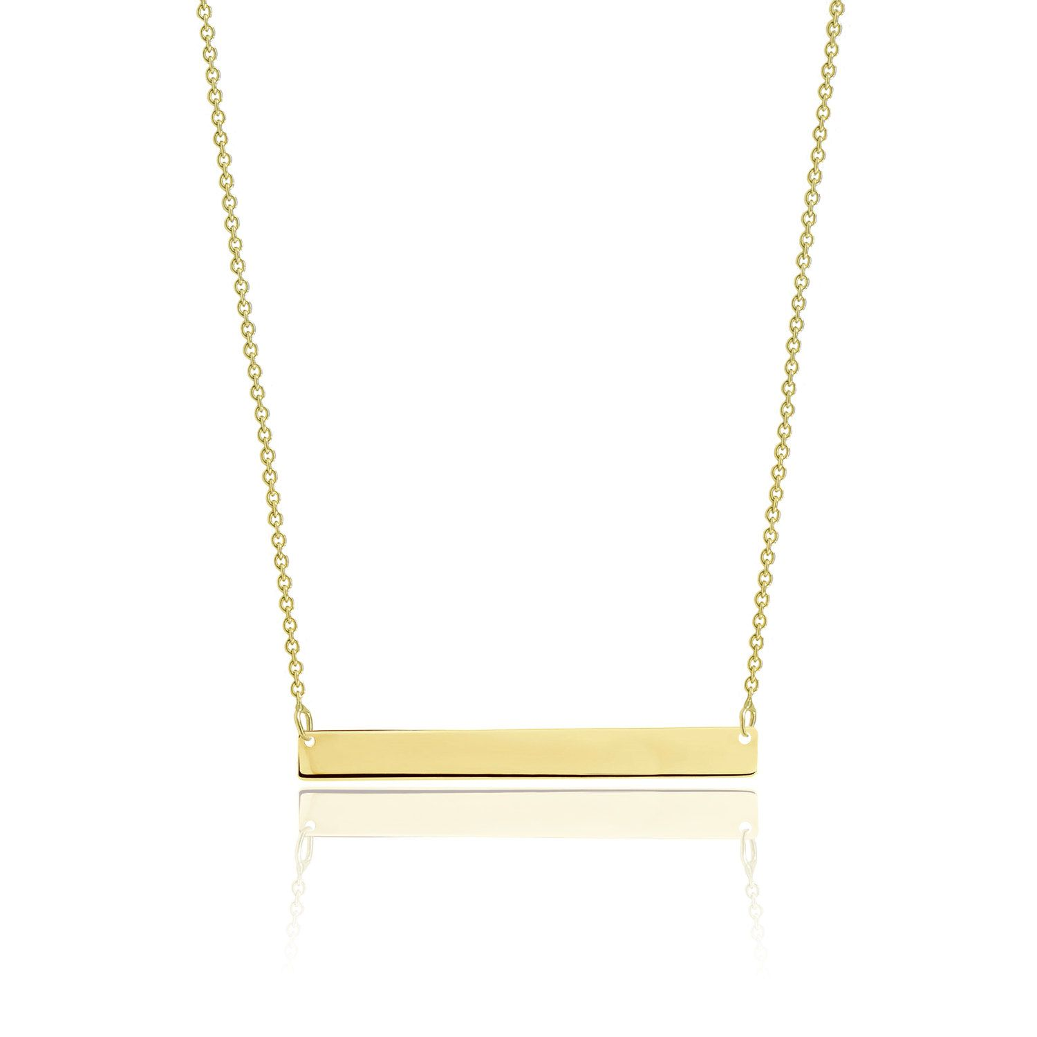 10k Solid Yellow Gold Custom Horizontal Bar Necklace Pendant Rolo Chain Description Material Ge Horizontal Bar Necklace Yellow Gold Pendants Bar Pendant