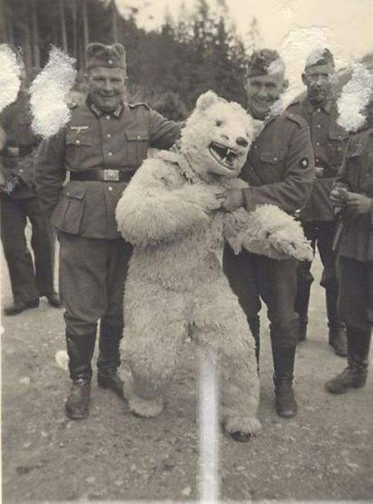 How Germans loved to pose with men in POLAR BEAR costumes