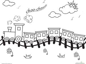 Choo Choo Train Worksheet Education Com Train Coloring Pages Coloring Pages Train Crafts