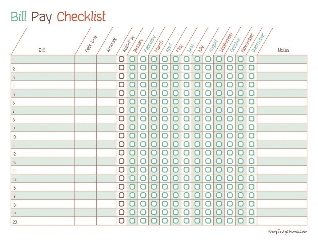 Take Blank Monthly Bill Payments Worksheet