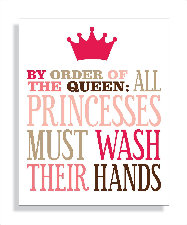 Bathroom Signs Wash Hands princess bathroom art print, girls bathroom wall decor- wash your