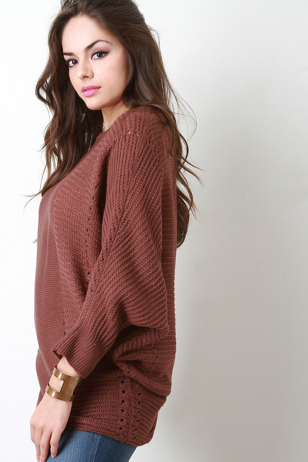Contrast Knit Baggy Bat Wing Sweater | Bat wings and Products