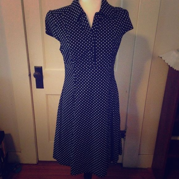 Vintage style dress Cute black and white  polka dot dress. Not very stretchy. There is a zipper on the side of the dress. Purchased from Modcloth Dresses