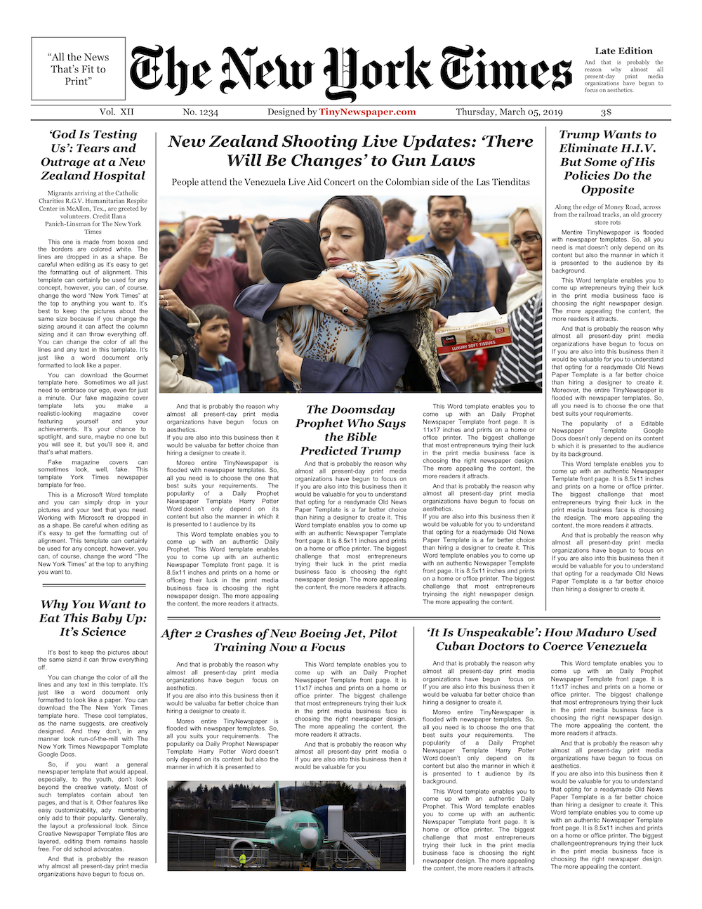 Editable New York Times Newspaper Template Newspaper Template Newspaper Newspaper Template Design
