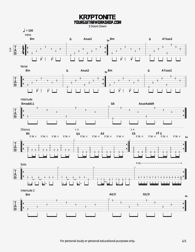Kryptonite   Guitar TAB   Guitar tabs songs, Bass guitar tabs ...