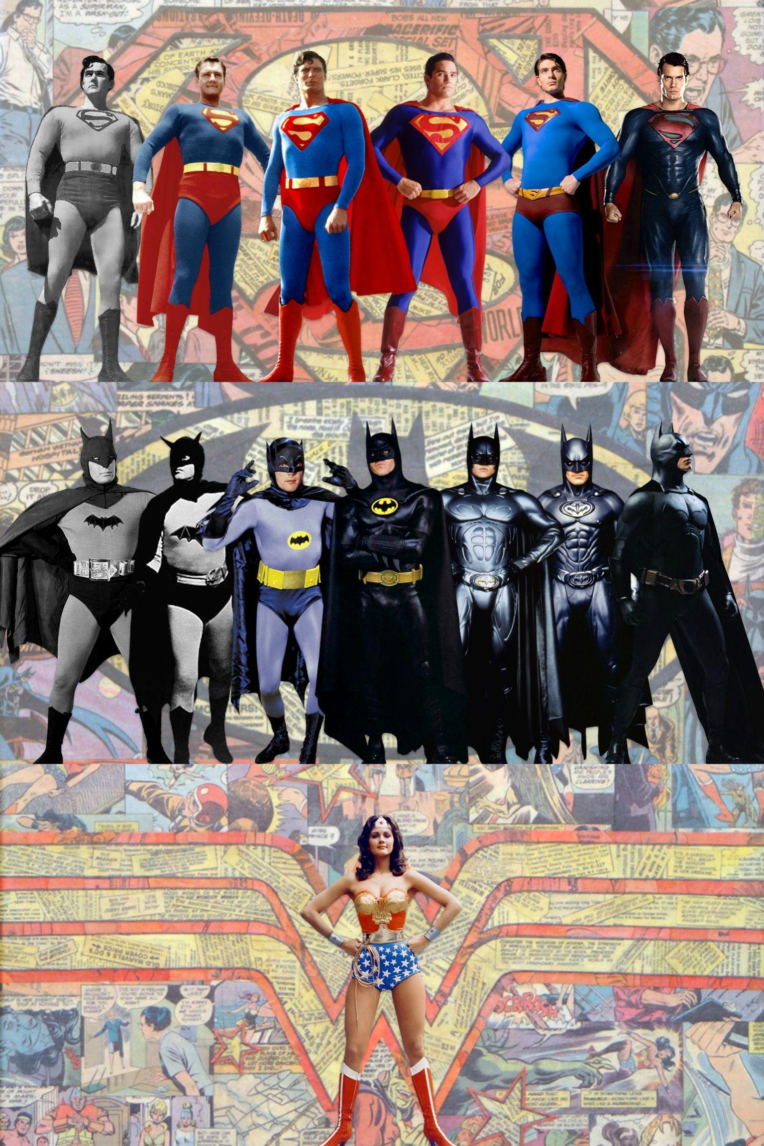 A History Of Dc S Most Famous Live Action Costumes Batman And Superman Superhero Wonder Woman