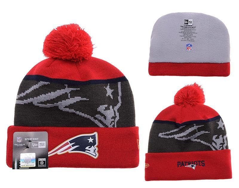 Mens   Womens New England Patriots New Era NFL Fashion Gold Collection  Liquidchrome Logo Cuff Knit Beanie Hat With Pom - Red   Graphite f3e1a52846f