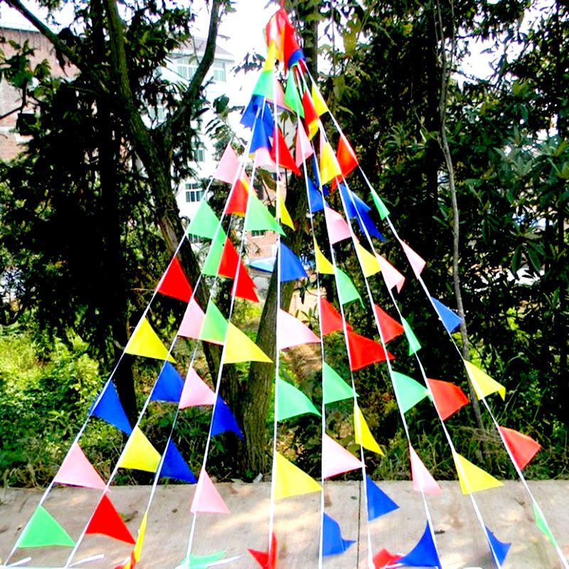 Christmas Hanging Triangle Flag Fabric Bunting Banner Pennant Holiday Decor