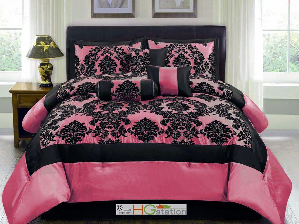 7pc Silky Satin Flocking Damask Floral Square Comforter Set Hot