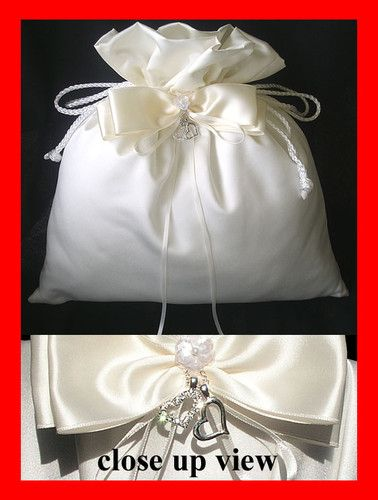 Two Hearts Ivory Bridal Wedding Satin Purse Bag For Ring Warming