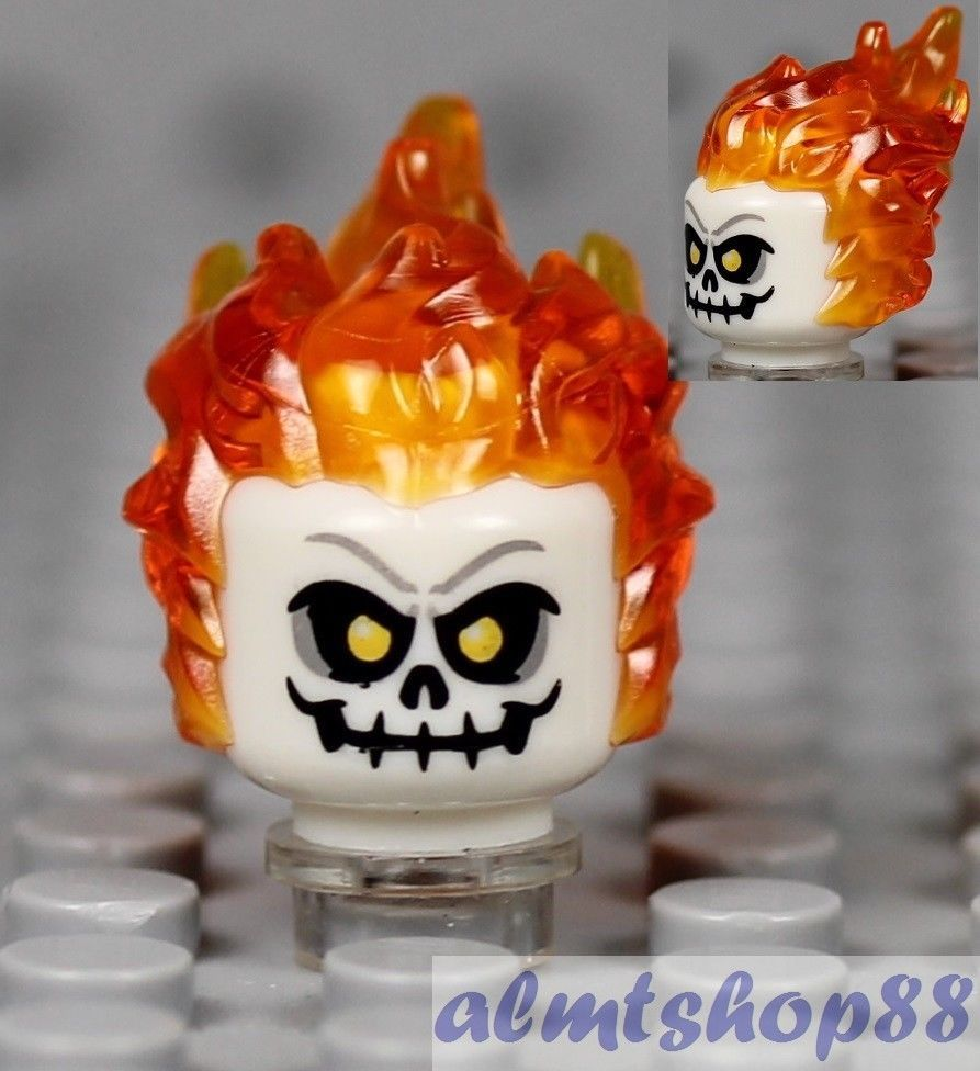 GHOST RIDER WITH BLUE FIRE Minifigure Rare Lego MOC Super Hero Marvel DC Toys