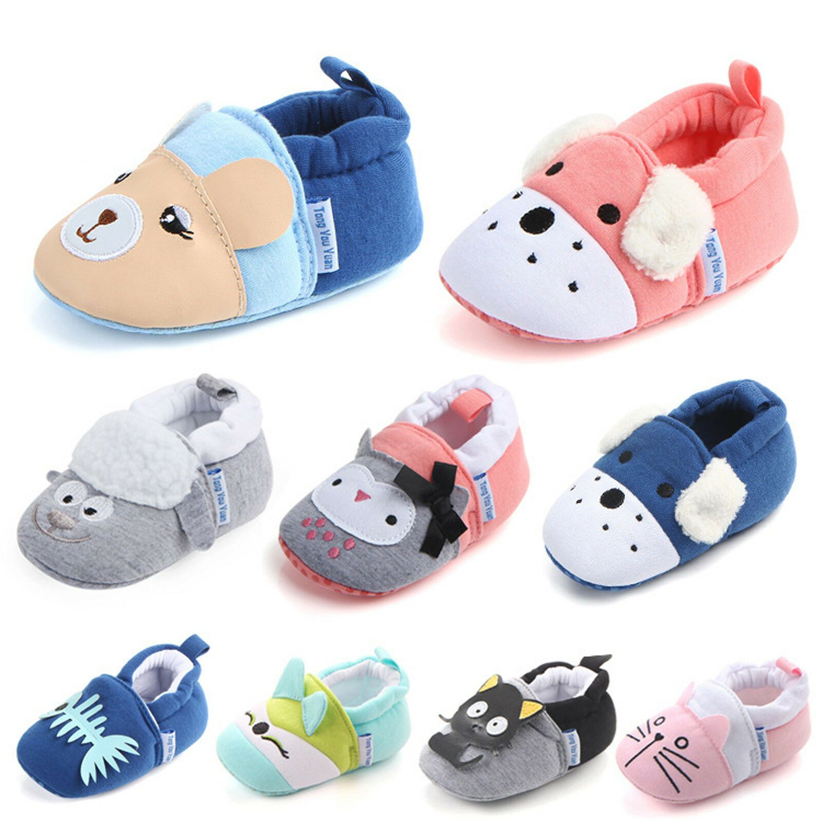 Infant Unisex Boys Girls Soft Sole Anti Slip Crib Shoes Soft Sole Cute Prewalker