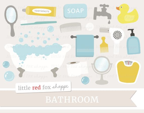 Bathroom Clipart Bath Time Clip Art Claw Foot Tub Soap Towel Mirror Scale Comb Brush Water Cute Digital Graphic Design Small Commercial Use