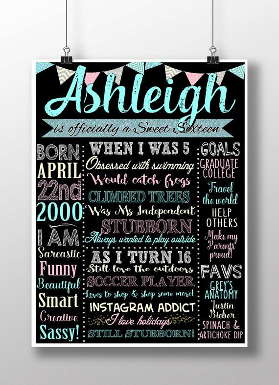 Sweet 16 Birthday Board Poster Custom For Any Age Gender Unique 16th Birthday Party Decor Signs Chalkboard Style Birthday Board Sixteen Sweet 16 Birthday Sweet 16 Birthday Party 16th Birthday Party