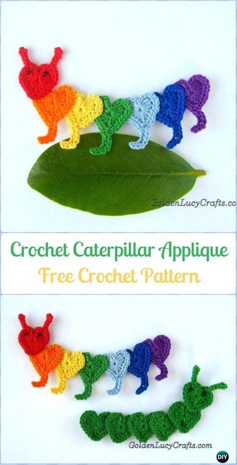 Crochet Caterpillar Applique Free Pattern Crochet Heart Shaped