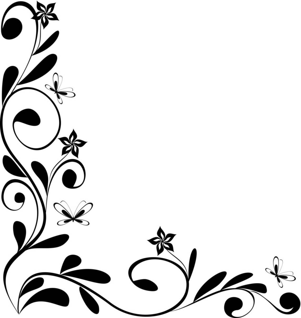 Black And White Floral Corner Drawings Border Design Design