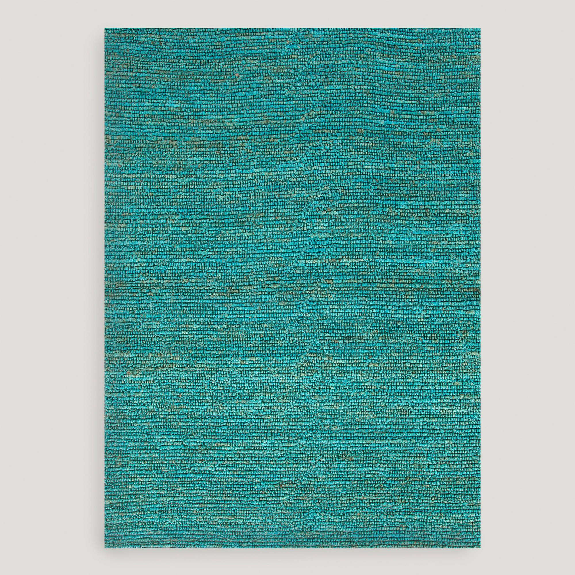 Victoria S Souk Rug: Aqua Deca Flat-Woven Jute Rug