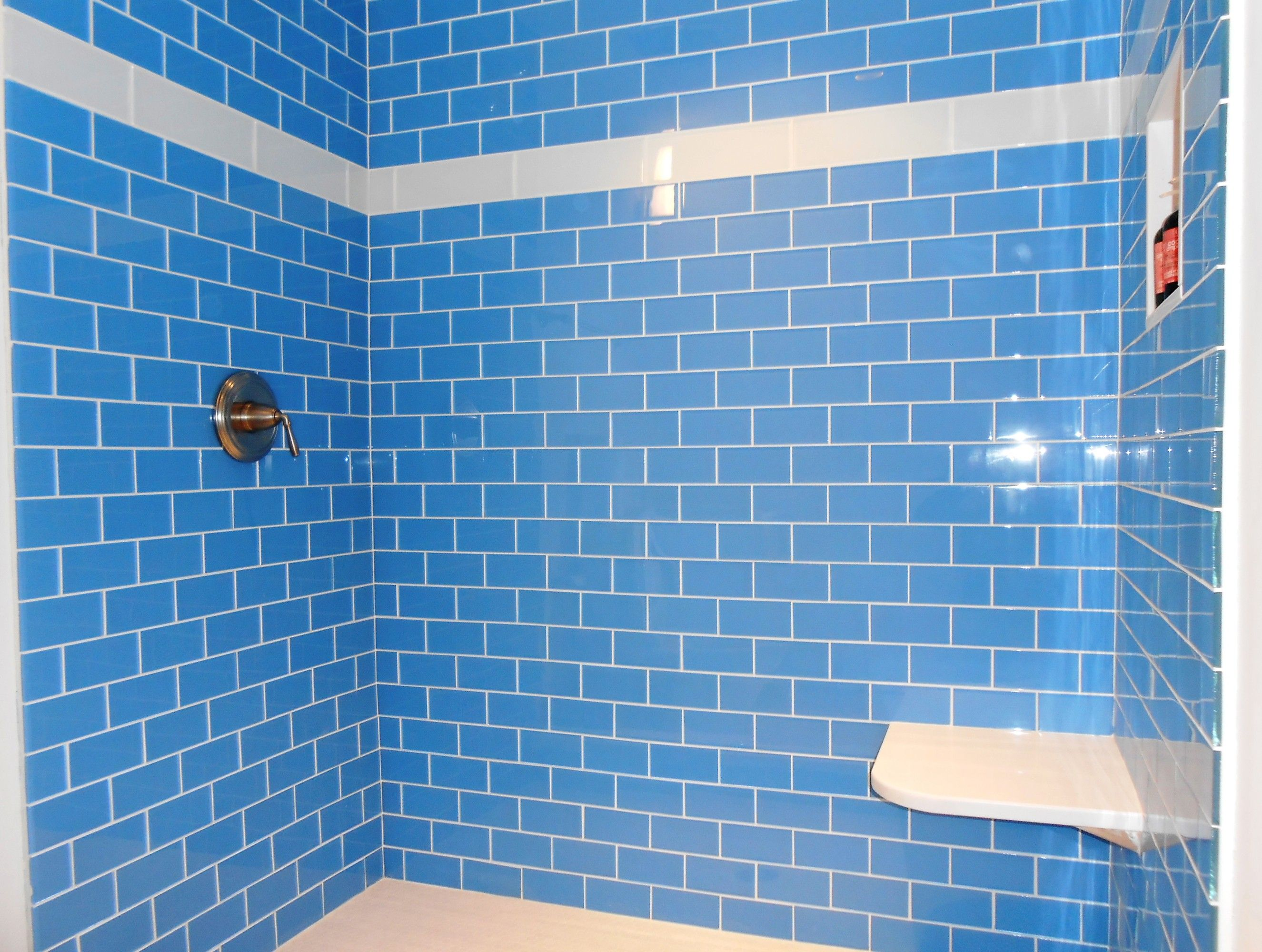 Lush Periwinkle 3x6 Bright Blue Glass Subway Tile Shower Wall ...