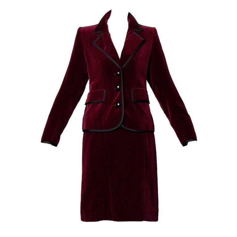 f5dea436efa Yves Saint Laurent YSL Vintage Burgundy Velvet Jacket + Skirt Suit Ensemble  1970