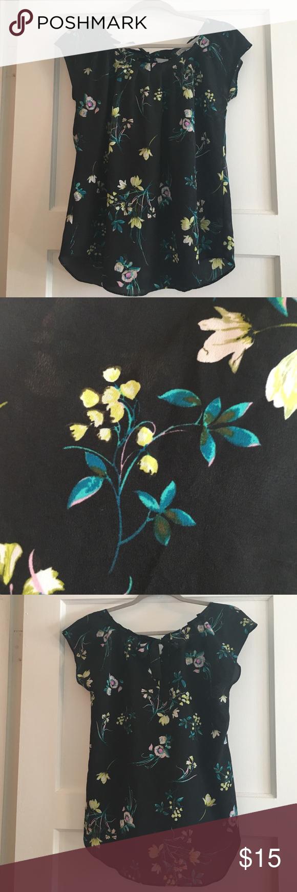 LC Lauren Conrad Tie Back Floral Top Good condition! Adjustable tie! LC Lauren Conrad Tops