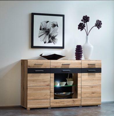 Sideboard San Remo Eiche hell/ Schiefer mit Beleuchtung Jetzt - beleuchtung für wohnzimmer