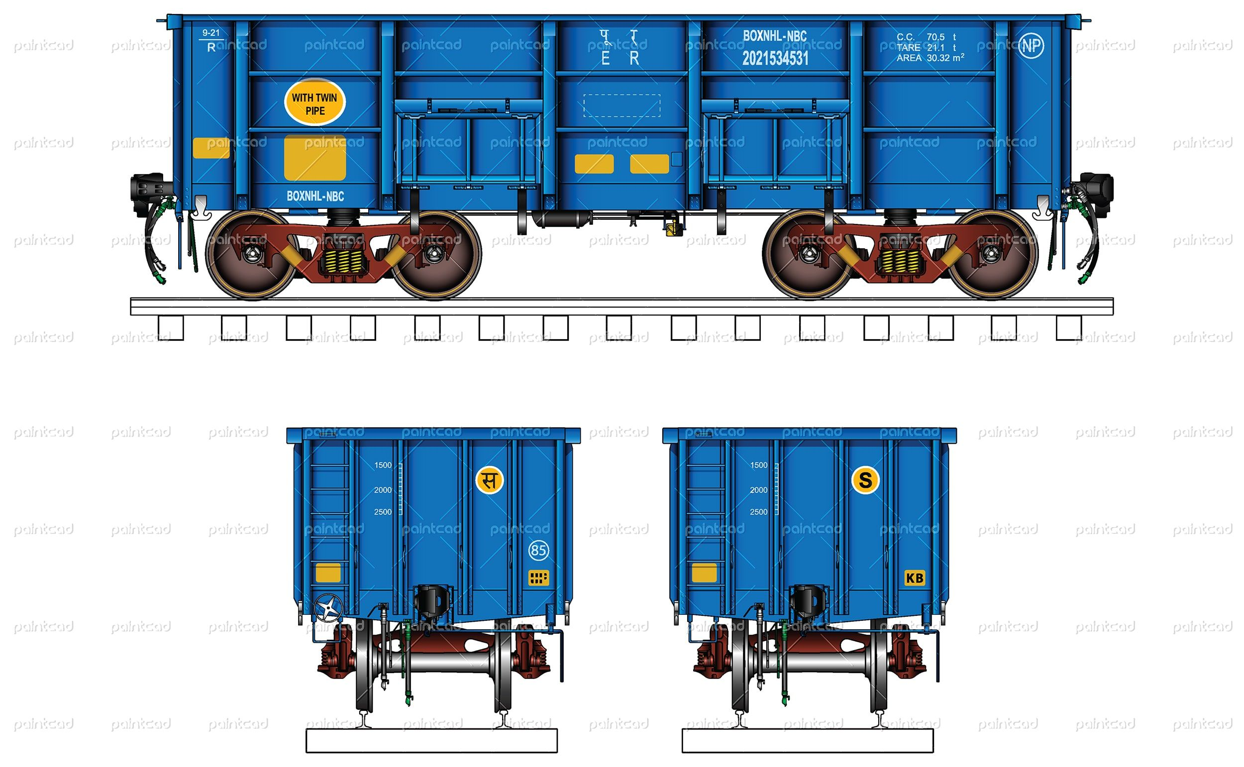"Vector illustration of open wagon type ""BOXNHLNBC"" part"