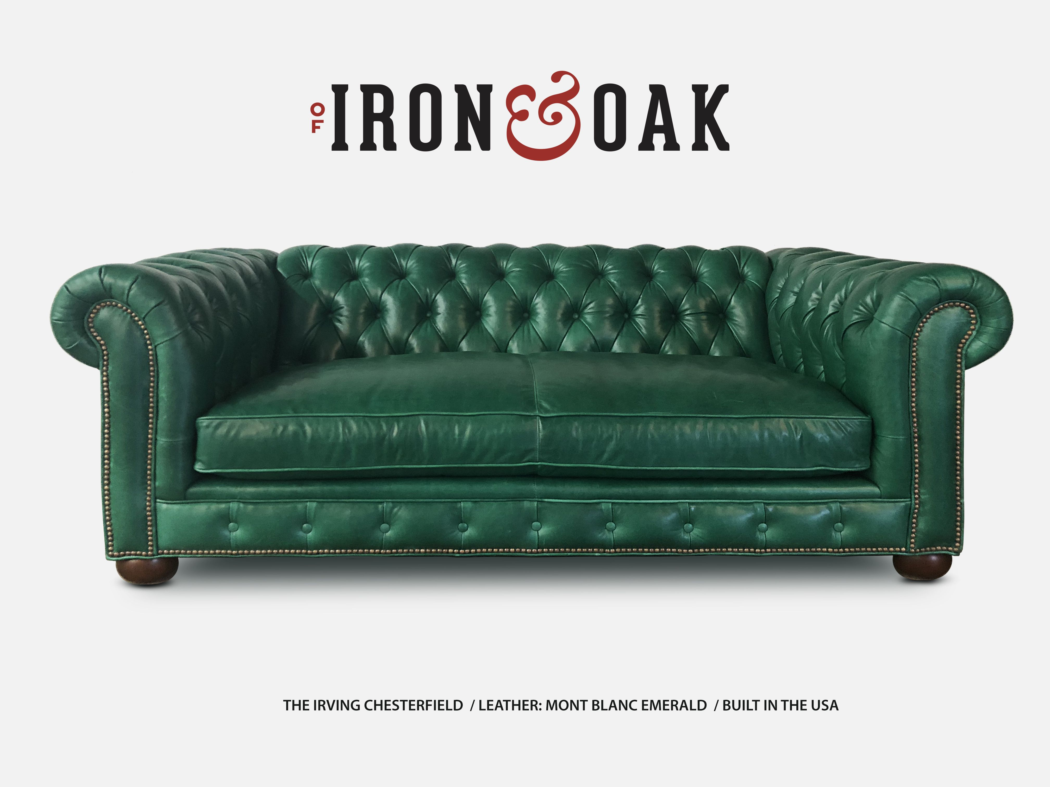 The Irving Custom Traditional Chesterfield Sofas More Green Leather Sofa Green Chesterfield Sofa Chesterfield