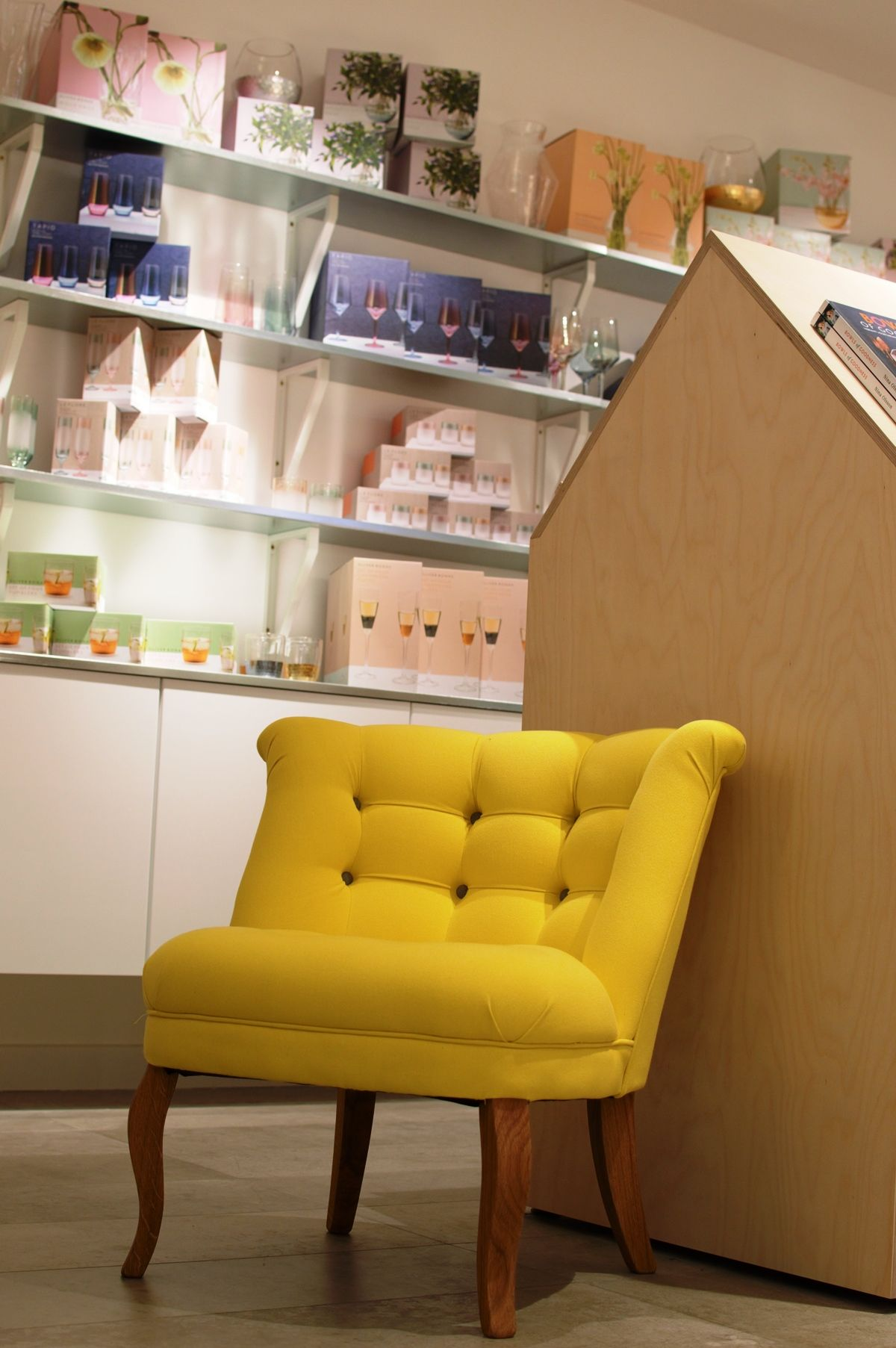 Love this yellow upholstered chair in Oliver Bonas Manchester