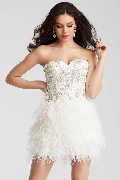 Jovani 50122 Embellished Sweetheart Feathered Dress Feather Dress Short Dresses Short Wedding Dress