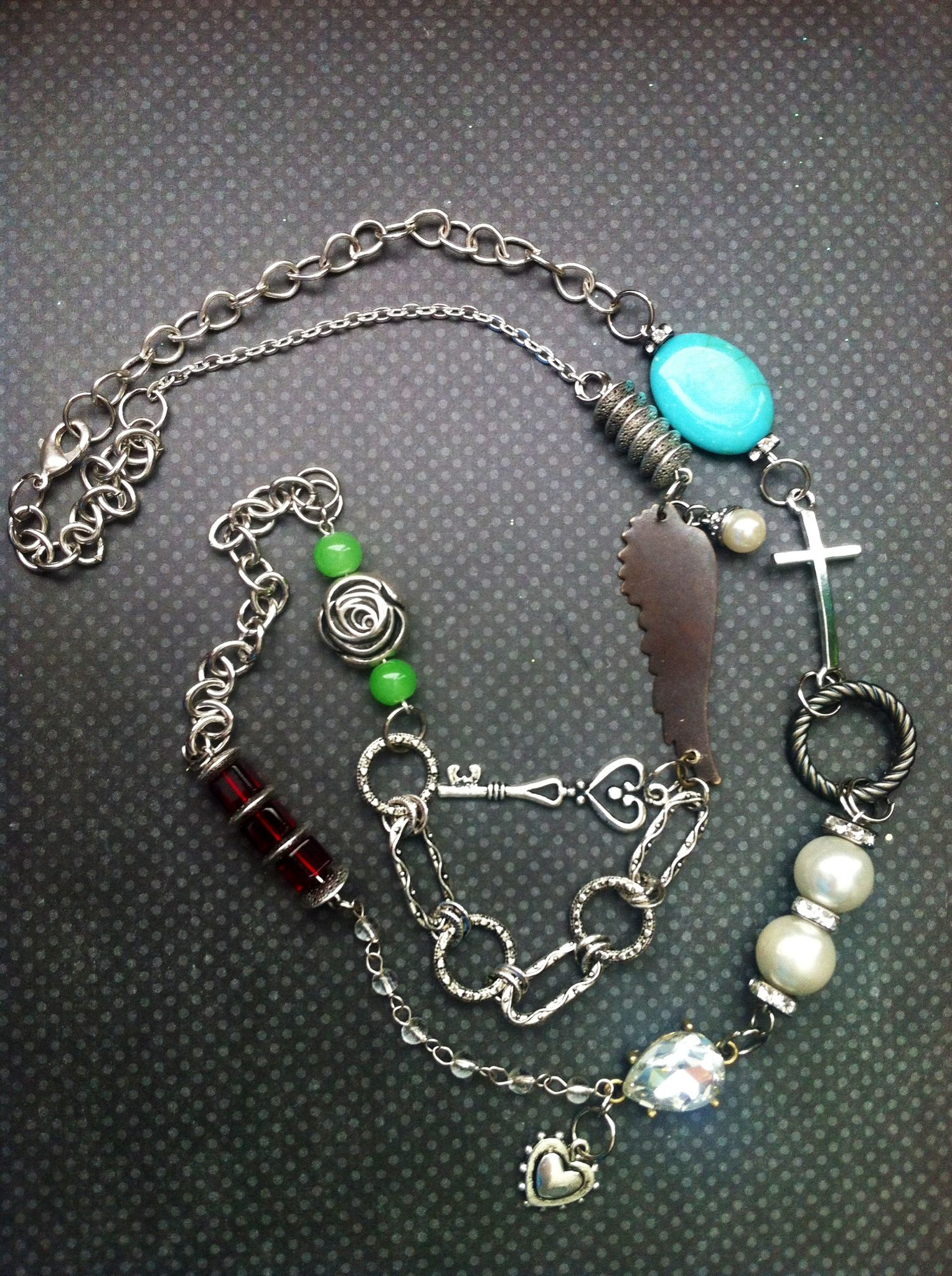A little bit of everything... Mixed chains/beads/charms/rhinestones.... For sale on jewelry FB page: Leave it at the Cross 3:16