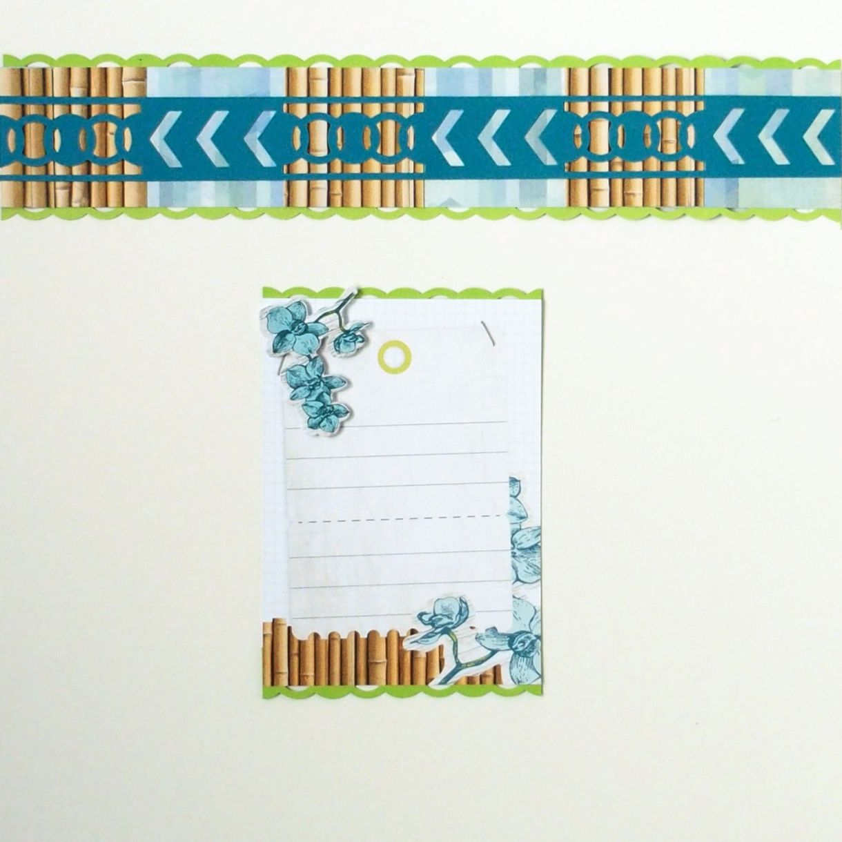 'Cool Serenity' border and matching journaling box by Creative Memories. www.creativememories.com/user/dayna
