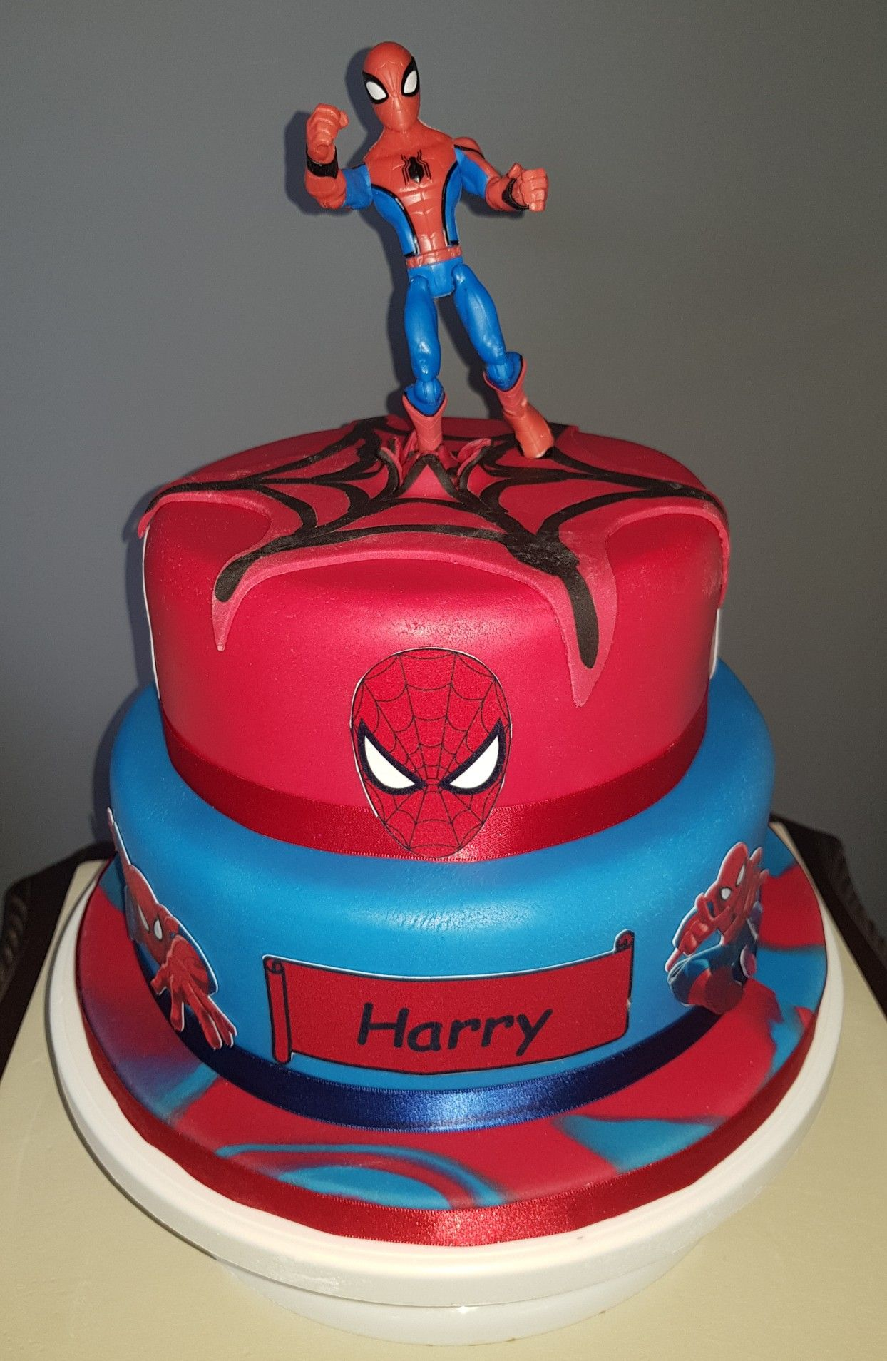Groovy Spiderman Birthday Cake Boy With Images Spiderman Birthday Personalised Birthday Cards Beptaeletsinfo