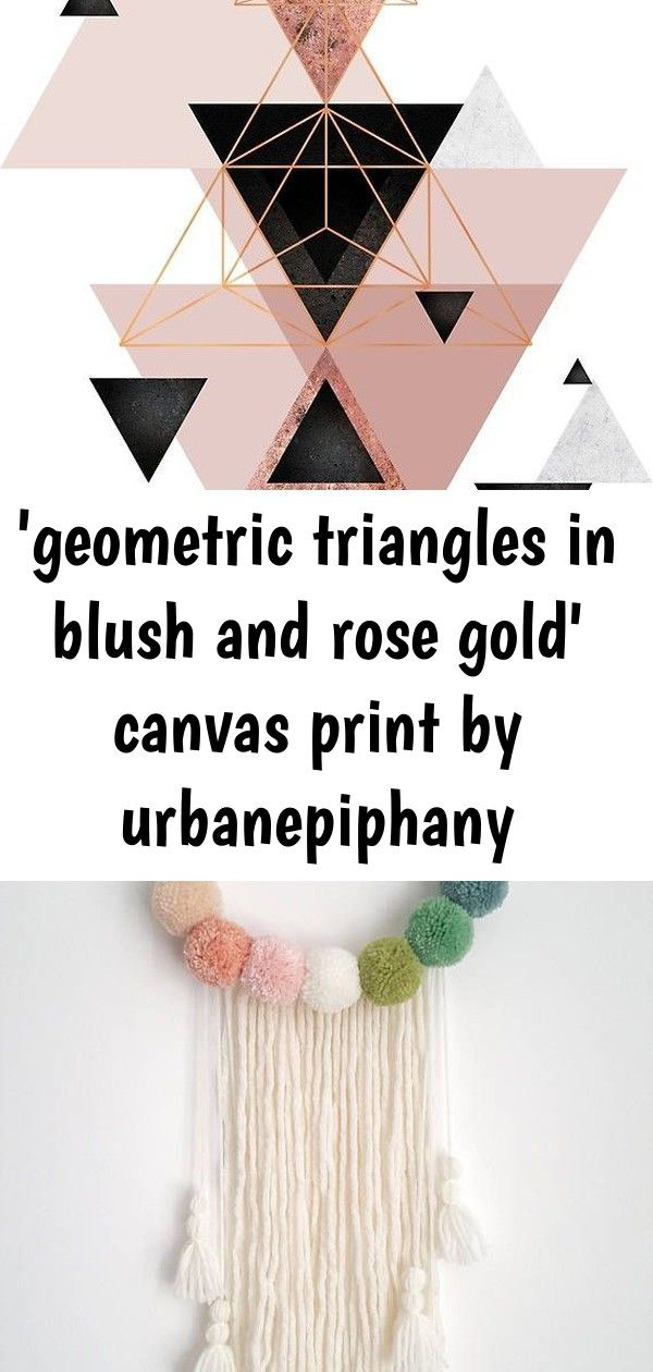 geometric triangles in blush and rose gold canvas print by urbanepiphany Abstract geometric triangle design in pink blush black and rose gold  Also buy this artwork on wa...